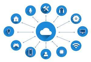 Cloud Computing in einer Grafik mit blauen Symbolen dargestellt