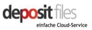 Logo von depositfiles in schwarz und roter Schrift