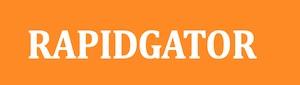 Orangenes Logo mit weißem Pfeil
